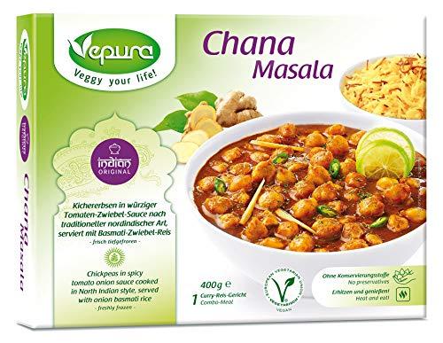 Chana Masala, Kichererbsen in Tomaten Zwiebel Sauce, Basmatireis, TK, 400g