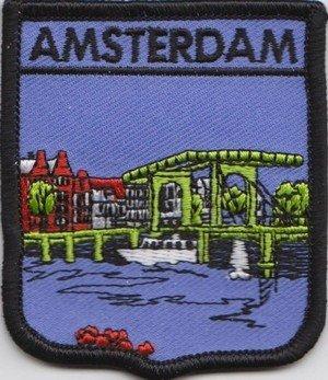 Aufnäher Amsterdam, niederländische Flagge, bestickt