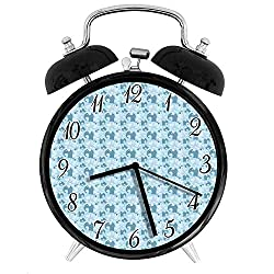 22yiihannz Nursery Silent Alarm Clock - 3.8inch, Childhood Nursery Elephant Figures with Dashed Lines Hearts,Retro Double Bell Appearance, Loud Ringing, Soft Night Light.