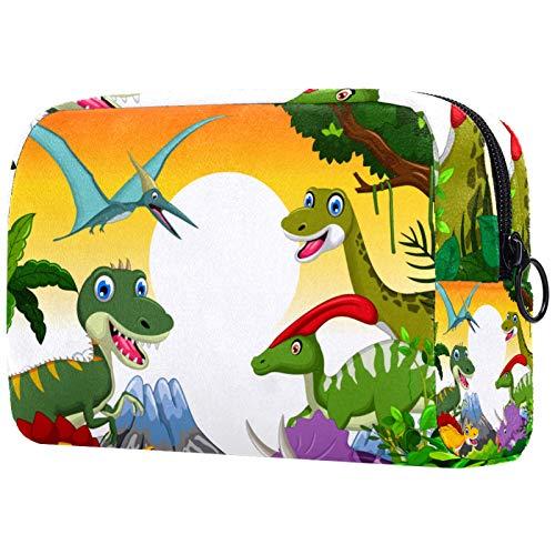 Kosmetiktasche für Make-up-Pinsel, tragbar, für Damen, Handtasche, Kosmetiktasche, Reise-Organizer, Dinosaurier, Tier, Selfie