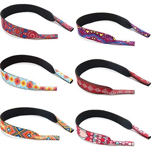 6 Stück Schwimmende Brillenbänder Halter Muster Sonnenbrillen Bänder Neopren Brillen Halter Robustes Weiches Brillenband für Sport Outdoor Wasser Aktivitäten