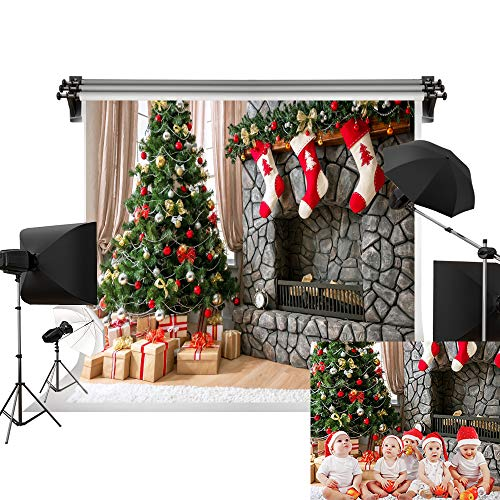 Kate 7x5ft/2.2m(W) x1.5m(H) Christmas Photography Backdrops Christmas Tree Christmas Xmas Backdrop Gift Socks Kids Backdrop Brick Fireplace Children Christmas Photo Background