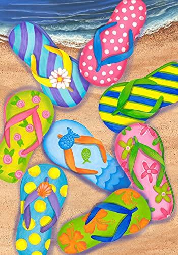 BRFNC 5D diy pintura diamante,pintura de diamantes de imitación,Zapatillas de colores en la playa bordado de diamantes de imitación de punto de cruz para decoración hogar 40x50cm