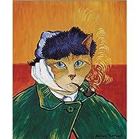 XKHSD ミニマリストノルディックブラックホワイトカワイイ一般的な猫アートプリントポスター