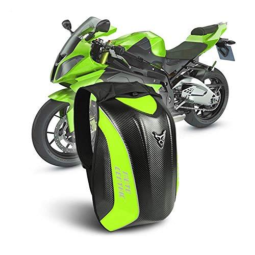 WildBee Motorfiets Koolstofvezel Harde Shell Grote Capaciteit Rugzak Moto Helm Tas Reflecterende Reistas XL Groen