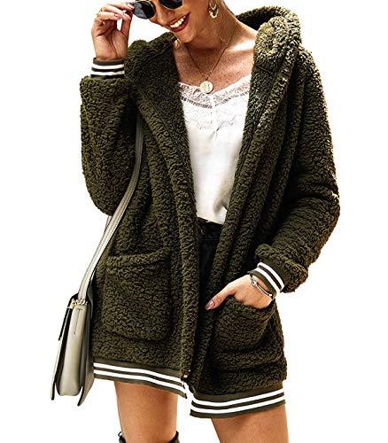 Kikibell Long Sleeve Fuzzy Sherpa Loose Warm Winter Two Pockets Coat Jacket Outwear Army Green Hooded Jacket