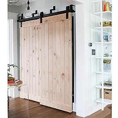 WINSOON 4ft Bypass Barn Door Hardware Sliding Kit 4-16FT for Interior Exterior Cabinet Closet Doors with Hangers(J Shape Roller)(2 Piece 4 Foot Rail)