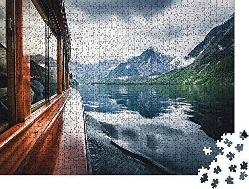 WZXHN Klassische Puzzle Erwachsene Holzpuzzle Traditionelles Boot auf dem berühmten Königssee an einem schönen - Klassische Puzzle Puzzle Panorama Art DIY Leisure Game -500 Teile