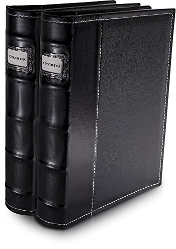 Bellagio-Italia Black DVD Storage Binder Set - Stores Up to 96 DVDs, CDs, or Blu-Rays - Stores DVD Cover Art - Acid-Free Sheets