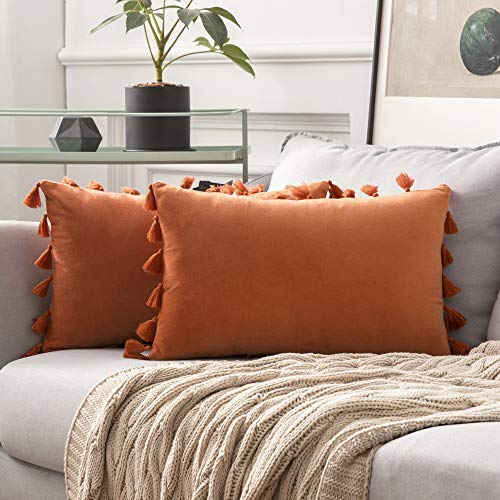 MIULEE Pack of 2 Velvet Soft Solid Decorative Throw Pillow Cover with Tassels Fringe Boho Accent Cushion Case for Couch Sofa Bed 12 x 20 Inch Orange