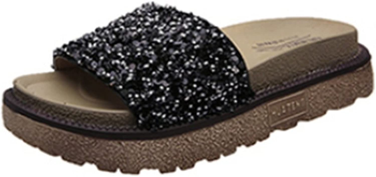Weiwei Women's Summer Thick-Soled Sandals and Slippers, Fashion Rhinestones Flat Sandals