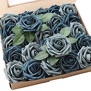 Floroom Artificial Flowers 25pcs Real Looking Dusty Blue Fake Roses with Stems for DIY Wedding Bouquets Bridal Shower Centerpieces Floral Arrangements Party Tables Home Decorations