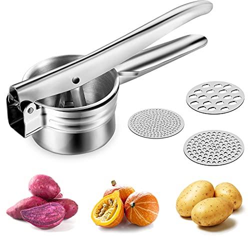 Yuragim Prensa de patatas de acero inoxidable, prensador de Spätzle, prensa profesional para Spätzle Premium Spätzle con 3 discos intercambiables para puré de patata, zumo de frutas, puré de verduras