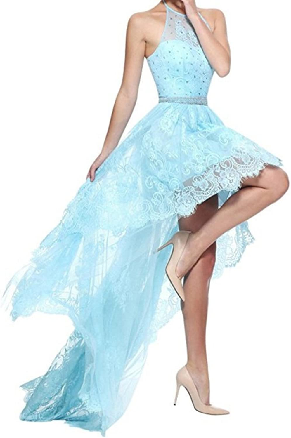 Honeydress Women's High Low Halter Neck Floral Lace Beading Waist Party Dress