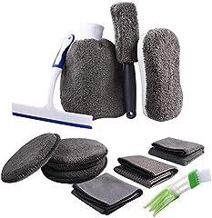 ATUTEN 11 Piezas Set Limpieza Coche Herramientas Kit de Lavado de Autos para Cuidado Coche (3 Paños, 3 Almohadillas para Vaho, Cepillo para Llantas, Enjugador, Cepillo de Limpieza, Guante, Esponja)