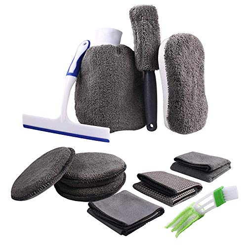 ATUTEN Auto Reiniger Set, 11-Teiliges Autopflege Set mit Autowaschhandschuh Reinigungstuch Feuchtigkeits-Pad Schwamm Felgenbürste Autobürste Rakel