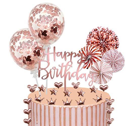 Xinmeng Decoración para Tartas 27pcs Topper de Magdalena Cumpleaños Cupcake Toppers Abanicos de Papel Globos Confeti Cupcake Topper para Partido Tartas de Decoración (Oro rosa)