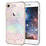 MOSNOVO iPhone 8 Case, iPhone 7 Clear Case, Gradient Rainbow Henna Mandala Printed Clear Design Transparent Plastic Case with TPU Bumper Protective Case Cover for Apple iPhone 7 / iPhone 8 (4.7 Inch)