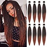 8 Pack Pre Stretched Braiding Hair 26 Inch Easy Braid Yaki Texture Synthetic Hair Extensions for Braiding Crochet Braids(1B-350,26inch)