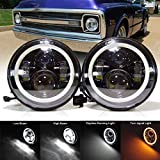 For Chevy C10 Camaro Pickup Truck 2Pcs 7 inch LED Round Headlight with High/Low Beam White DRL & Amber Turn Signal Conversion Kit H6024, with H4 to H13 Adaptor & LED Decoder, Harness Wires