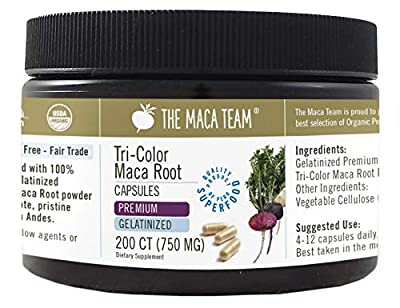 Gelatinized Premium Maca Root Capsules - Certified Organic, Fresh Harvest From Peru, Fair Trade, GMO-Free, Gluten Free and Vegan - 750 Mg, 200 Ct
