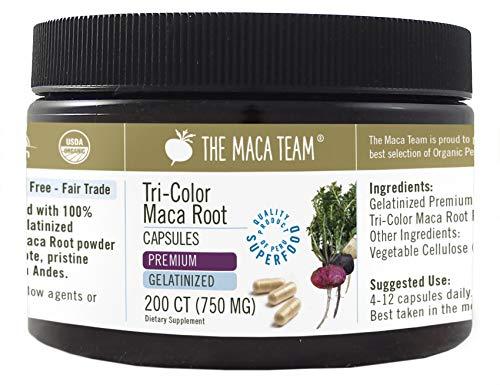 Maca Premium Gelatinizada BIO en cápsulas, 750 Mg, 200 Cápsulas, recién cosechada de Perú, comercio Justo, sin OGM, sin Gluten y Vegana.
