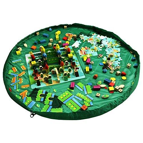 CHIC-CHIC Portable sac à jouet sac de rangement tapis de jouet pour les bébé enfants tapis pour les enfant Stockage (Vert)