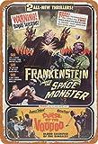 Hdadwy Retro Frankenstein se encuentra con el monstruo espacial; Curse of The Voodoo Retro Metal Decor Placa de pared Letrero vintage para House Cafe Club Home or Bar