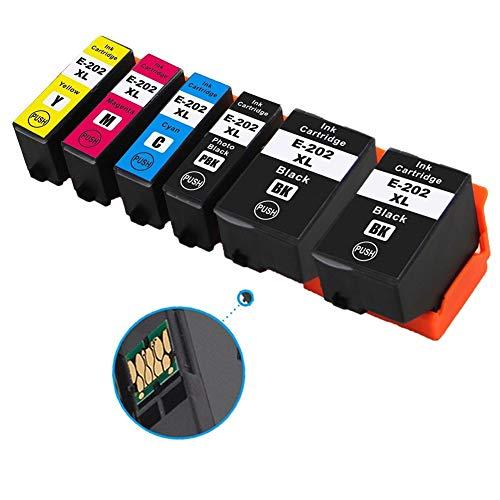 Ouguan® Cartuchos de tinta Epson 202 XL compatibles con Epson Expression Premium XP-6000 XP-6005 XP-6100 XP-6105 (XP-6005, 2 , 1 negro fotográfico, 1 cian, 1 magenta, 1 amarillo)