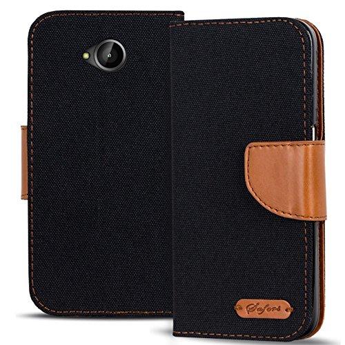 Conie TW19967 Textil Wallet Kompatibel mit Microsoft Lumia 640, Textil Hülle Klapptasche mit Kartenfächer Etui Slim Cover für Lumia 640 Handyhülle Jeans Schwarz