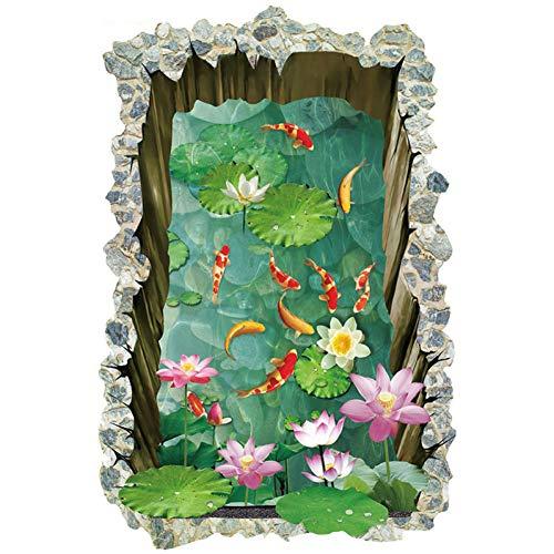 JLZK Pegatinas de suelo de estanque de peces 3D para habitaciones de niños suelo de la casa Piso antideslizante de la casa
