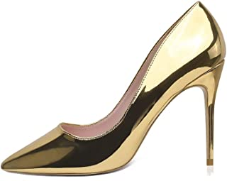 GENSHUO Stiletto High Heels for Women,10CM Stiletto Heels Ladies Pointed Toe Party Dress Court Shoes Patent Leather