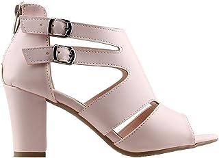 Ayakland 811-51 Günlük 7 Cm Topuklu Bayan Cilt Sandalet Ayakkabı Pudra