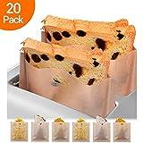 Bolsa para tostadora, 20 bolsas de pan reutilizables antiadherentes, beige resistente al calor,...
