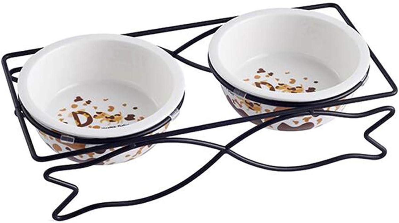 QIQIPET Cat Bowl Dog Bowl Pet Supplies Double Bowl Cat Food Bowl Iron Holder Double Ceramic Bowl Pet Bowl Holder (Size   M, Style   B)