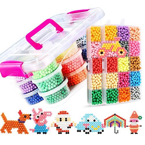 Cuentas de fusibles, 24 colores 10100 cuentas de spray de agua, creación artesanal de bricolaje, juguetes educativos para niños y principiantes