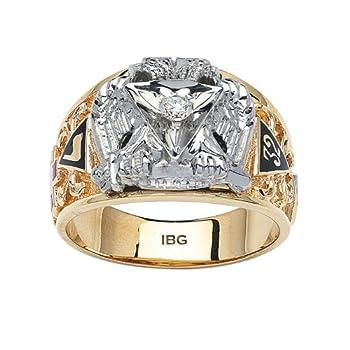 IBG 10k Yellow Gold Diamond Scottish Rite Masonic Ring Finger Size 12