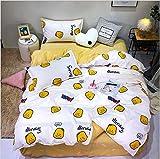 HDBUJ Kleiner Weißer Bettbezug Mit Gelbem Kopf Und Zwei Kissenbezügen, Reißverschluss, Weiche Polyesterbettwäsche, Leicht Zu Reinigen 220X240Cm