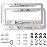 2pcs fit Cadillac Front and Rear License Plate Frames,Newest Matte Aluminum Alloy Cadillac Plate Frame to Decorate Your License Plate Cover,Screw Caps Included
