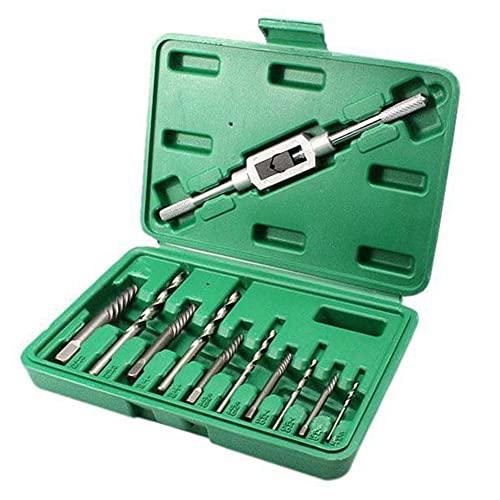 Tornillo dañado Establecer extractor de extractor de tornillo roto Tornillos Tornillos herramienta de eliminación de tornillo con sujeción verde 11pcs