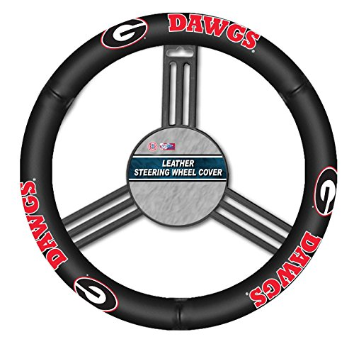 Fremont Die NCAA Georgia Bulldogs Leather Steering Wheel Cover, Fits Most Steering Wheels, Black/Team Colors