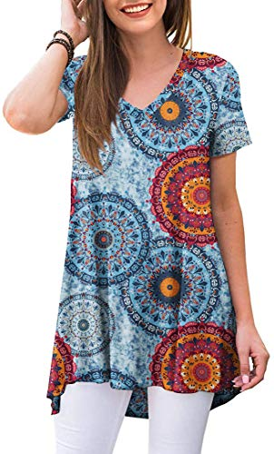 POPYOUNG Women's summer Casual T-Shirt V-Neck short Sleeve Tunic Tops for Leggings Loose Blouse Shirt XL, Floral Mixed Blue