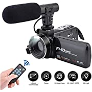 Video Camera Camcorder,CamKing FHD 1080P 24.0MP 16X Vlogging Camera with External Microphone Speaker and 3.0 Inch IPS HD Touch Screen Digital Zoom Camera Recorder