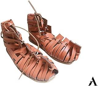Mens Gladiator Leather Sandal | Roman Centurian Brown Caligae|Medieval Greek Soldier Sandles| Ancient Costume Footwear