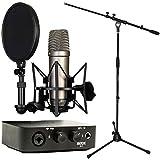 Rode NT1-A - Set de micrófono + interfaz de audio AI-1 + trípode de micrófono Keepdrum con jirafa
