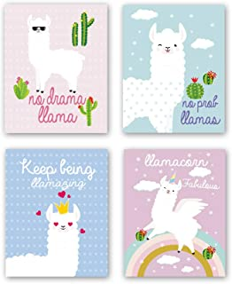 Unframed Adorable Alpaca Wall Art Print Inspirational Quotes&Saying Painting, Set of 4(8