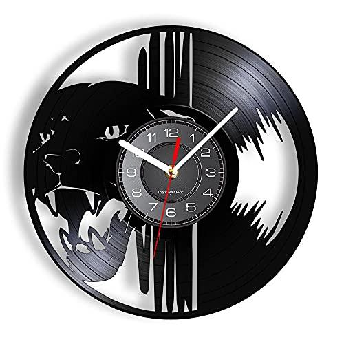 KDBWYC Reloj de Pared con Cabeza de Leopardo Negro Hecho de Tablero de Vinilo rediseñado Pantera Salvaje Reloj de luz de Pared de Animal Salvaje Reloj Decoraciones Colgantes sin LED
