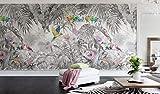 SILK ROAD EU Papier Peint Panoramique Jungle Soie, 355 x 250 cm, Poster Geant Mural Personnalisé 3D pour Salon Chambre Décoration Murale, Forêt Tropicale Perroquet Dos De Tortue Bambou Palmier Quitte