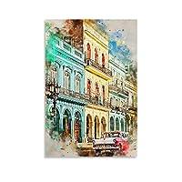 水彩のキューバ キャンバスポスター寝室の装飾スポーツ風景オフィスルームの装飾ギフト,キャンバスポスター壁アートの装飾リビングルームの寝室の装飾のための絵画の印刷 24x36inch(60x90cm)