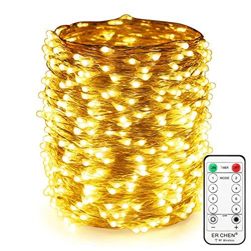 Erchen Strom-betrieben LED Lichterkette, 165 FT 500 LED 50M Stecker dimmbare Silbrig Kupfer Draht Lichterketten mit 12V DC Adapter Fernbedienung für Innen Außen Weihnachten Party (Warmweiß)